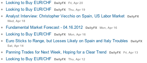 dailyfx long eur/chf q1 2012