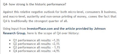 Stock market performance per quarter