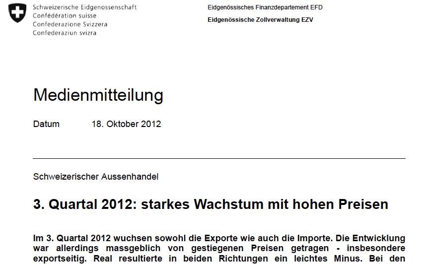 Swiss Q3 trade balance