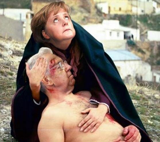 Pieta Merkel Monti