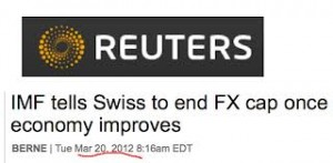 imf end snb cap franc, reuters