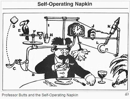 Rube Goldberg Self-Operating Napkin