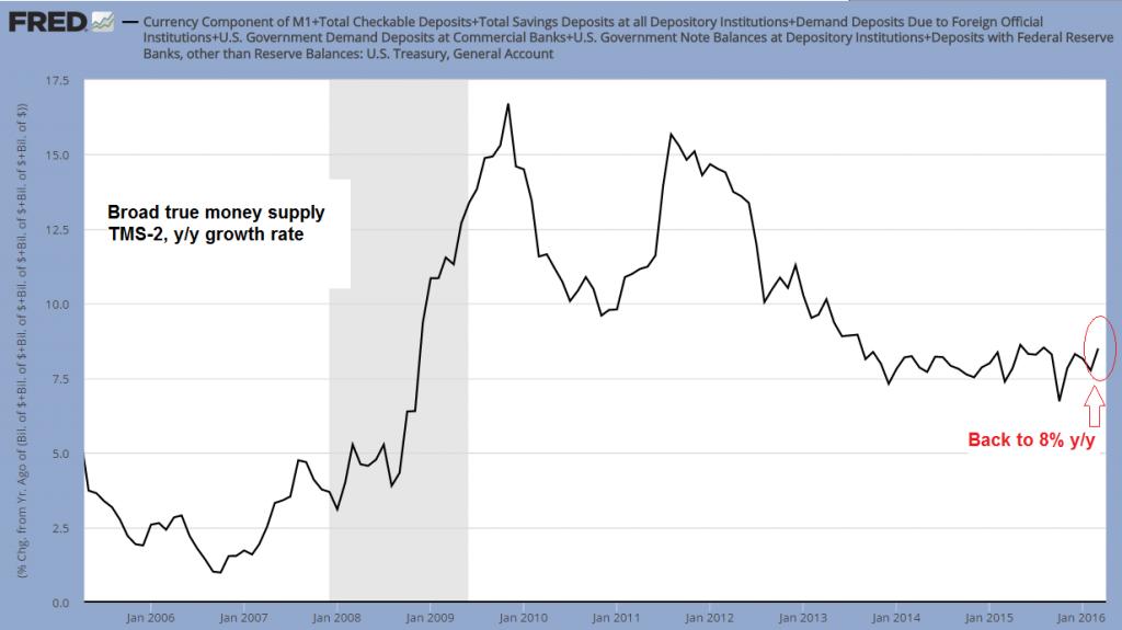 Broad true money supply TMS-2,y/y growth rate