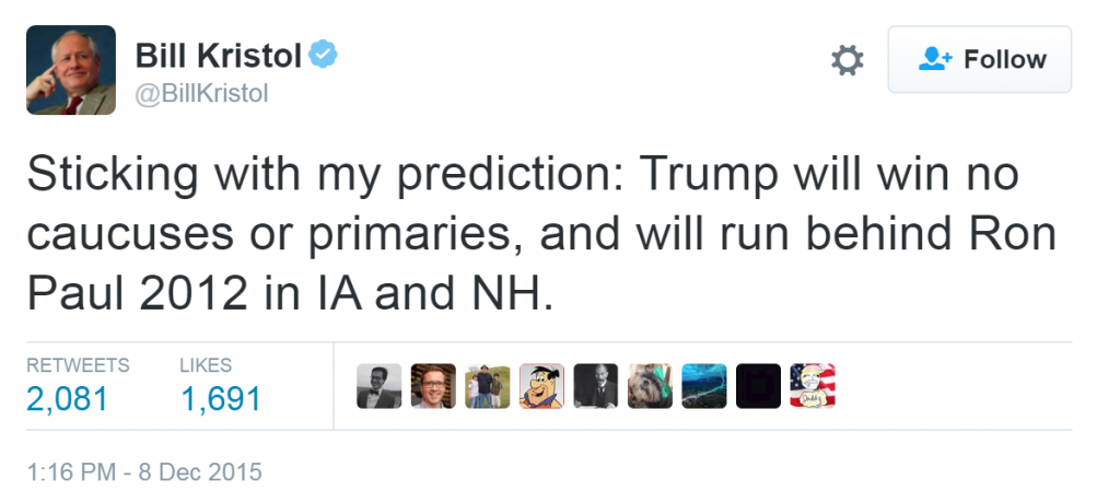 Actually a fairly typical Kristol prediction in terms of accuracy…