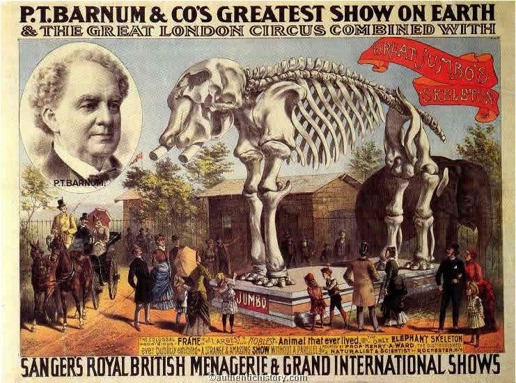 "The legendary P.T. Barnum's ""Greatest Show on Earth"""