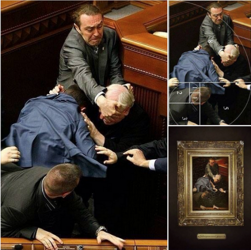 Perfect composition: Ukraine's parliamentary brawlers are true artists. Image source: firstmemes.com