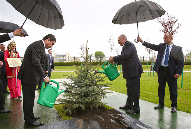 Yes, these two gentlemen are actually watering a tree in the middle of a downpour…, Gurbanguly Berdimuhamedov, Alexander Lukashenko