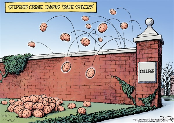 """How to most effectively create a """"safe space"""" on campus Cartoon by Nate Beeler"""