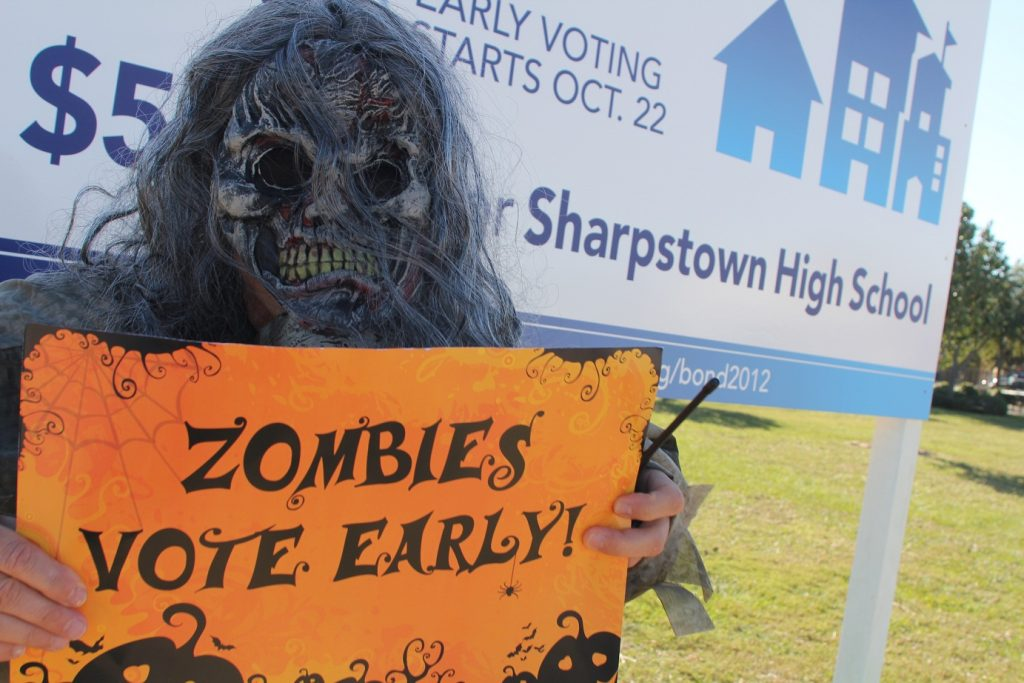 The cronies know that the zombies are voting as well. Arrangements will have to be made. Photo credit: HISD Communications