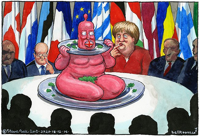 David Cameron getting concessions from the EU… Cartoon by Steve Bell