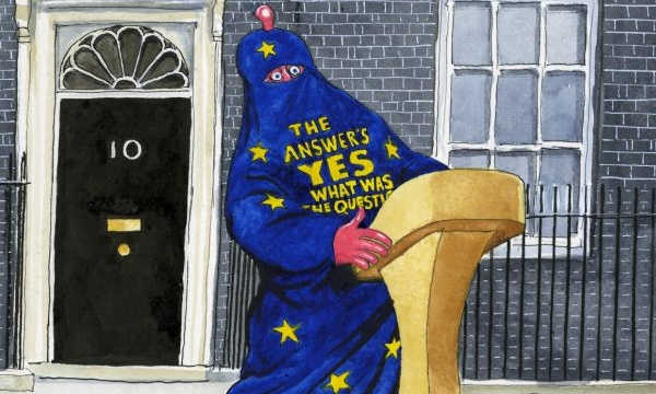 """Cameron tries to persuade the electorate to vote against """"Brexit"""". This time, his efforts may not suffice. Cartoon by Steve Bell"""