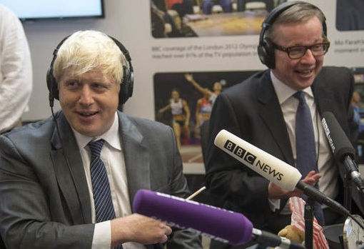 Pro-BREXIT campaigners Boris Johnson (ex-mayor of London) and Michael Gove (UK Secretary of Justice) are in a good mood. Photo credit: Paul Grover / REX