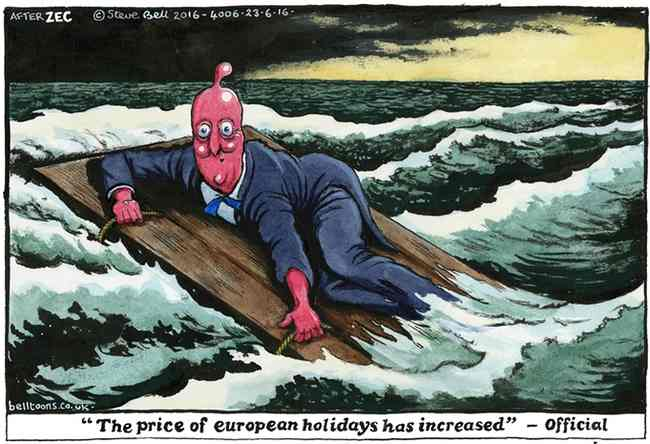 "It's official… European holidays will henceforth be more expensive. Mr. Cameron's elegant little boat can be had for just €5 though (as of today, ca. £5,000….just kidding) – you can find it on Google, it's called the ""Waterloo raft"". Cartoon by Steve Bell"