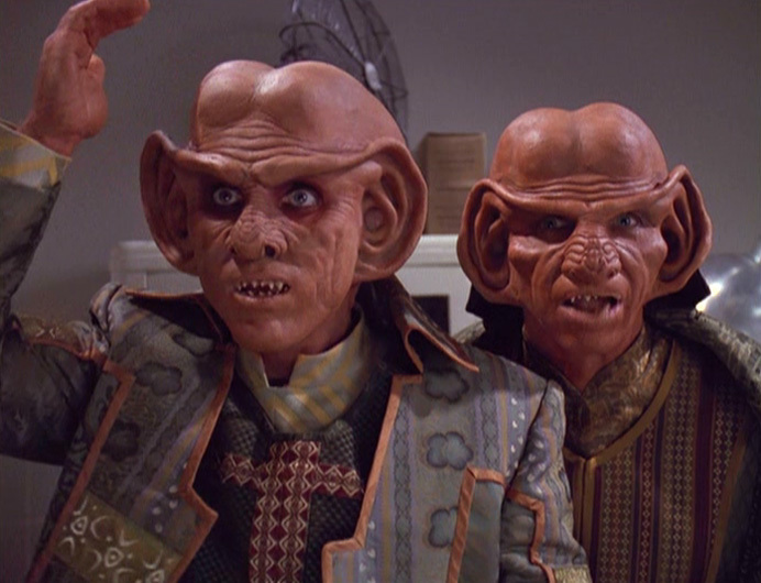 Ferengi – well, look at them, they look like suspects! Somehow their behinds appear to have been misplaced too. Image credit: Paramount