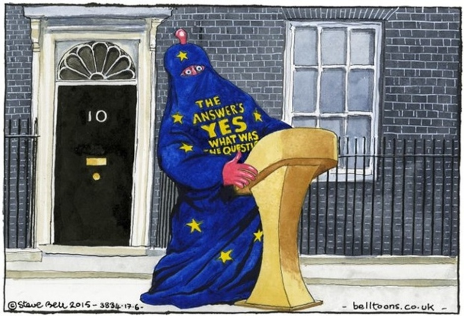 David Cameron, clad in his EU burkha…(this one never gets old)