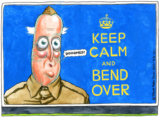 """It may well be that the """"fear campaign"""" is doomed. Cartoon by Steve Bell"""