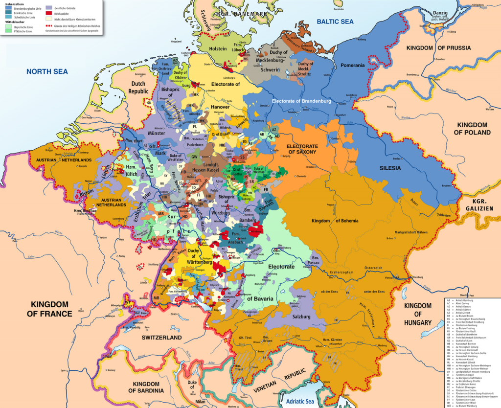 Germany before 1794: a collection of independent ecclesiastical principalities, free imperial cities, secular principalities and other minor self-ruling entities – click to enlarge.