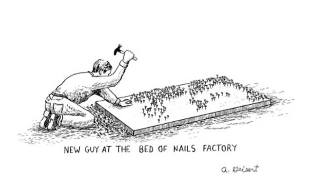 Just remember… not the ideal bedding if you're tossing and turning a lot in your sleep. Cartoon by Arthur Kleisent