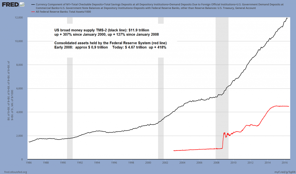 US broad money supply TMS-2 (black line) and assets held by the Federal Reserve system (red line). A picture of monetary inflation in overdrive – click to enlarge.