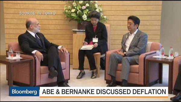 "An image from Tokyo TV: Ben Bernanke and Shinzo Abe discuss ""deflation"" (we are using quote marks in light of the chart of Japan's money supply shown further above)."