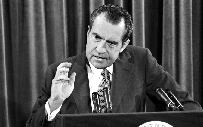 "Richard Milhouse Nixon. Here is a link to a video of his announcement of the US gold default in 1971. It is a classical example of how governments are routinely telling bald-faced lies when imposing steps to combat ""economic emergencies"" they themselves have caused. These steps invariably mean that someone's wealth is stolen or diminished in favor of the State. Photo via epictimes.com"