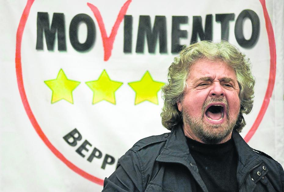 Waiting in the wings: Beppe Grillo, leader of the 5-star movement Photo via freejournal.it