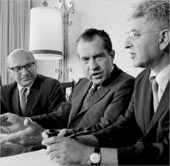 Milton Friedman, Richard Nixon and then Fed chairman Arthur Burns.