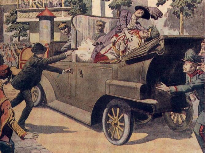 Archduke Franz Ferdinand gets shot by Gavrilo Princip