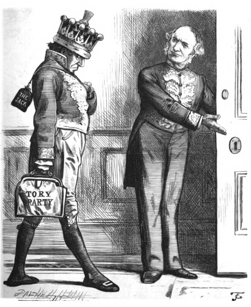 Gladstone shows Disraeli the door