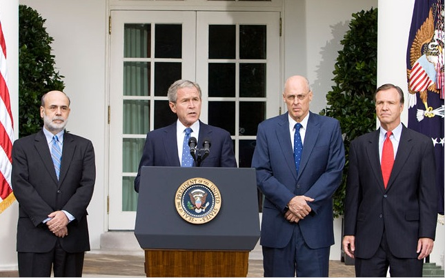 Ben Bernanke, GW Bush, Hank Paulson and Donald Cox