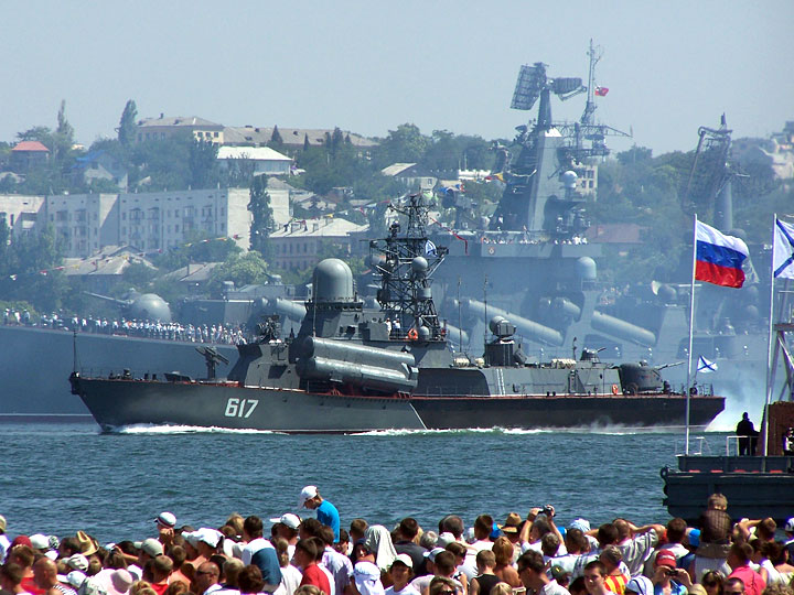 Russian warships near the port of Sevastopol.