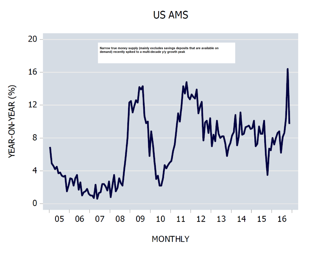 US AMS (adjusted money supply), y/y growth
