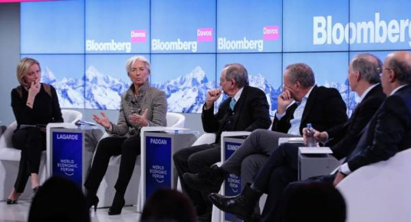 IMF Managing Director Christine Lagarde, Italian Finance Minister Pier Carlo Padoan and Founder, Chairman and Co-CIO of Bridgewater Associates, Ray Dalio