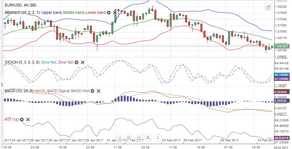 EUR/USD with Technical Indicators, January 24 - February 11