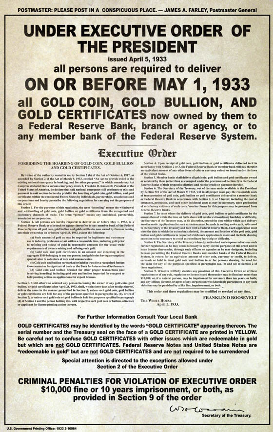 gold confiscation poster