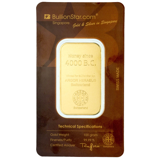 Singapore Gold Bullionstar Bar 100g Back