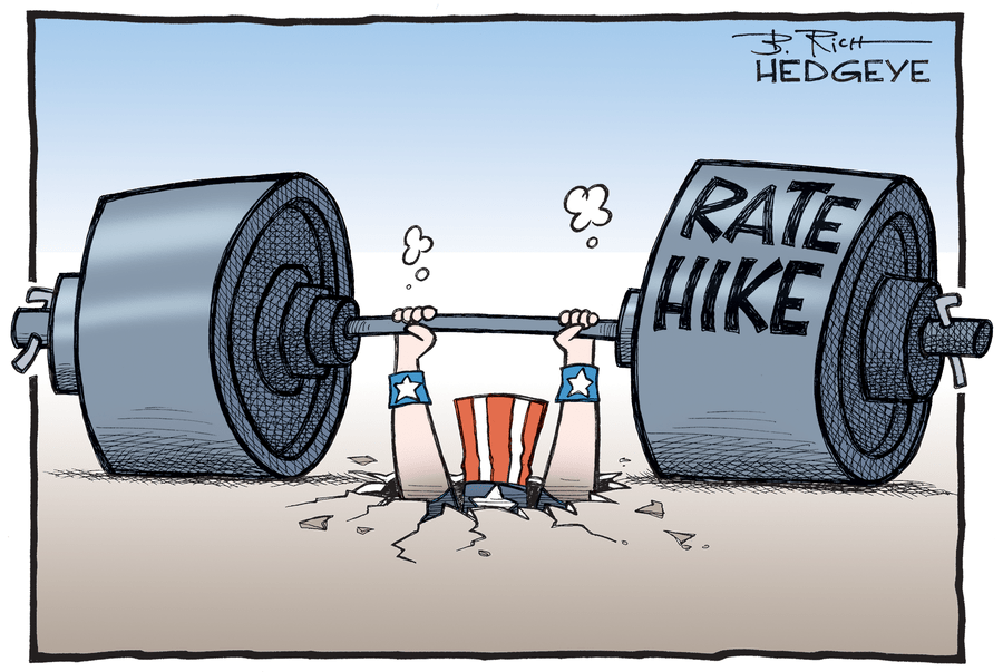 Rate Hike Dumbells Cartoon