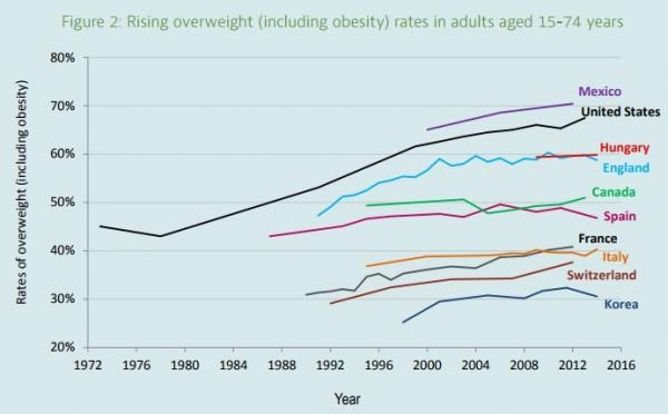 Rising overweight rates in adults aged 15-74 years