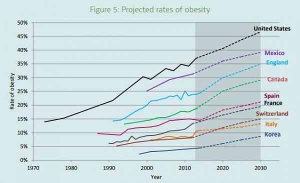 Projected rates of obesity 1970 - 2030
