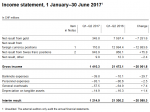 Income statement, 1 January–30 June 2017
