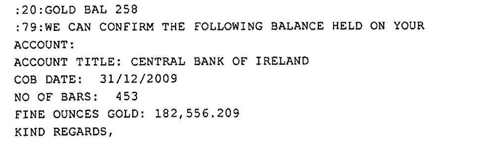 Central bank of Ireland's gold account at the BOE.