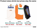 Product sizes shrink but prices stay the same