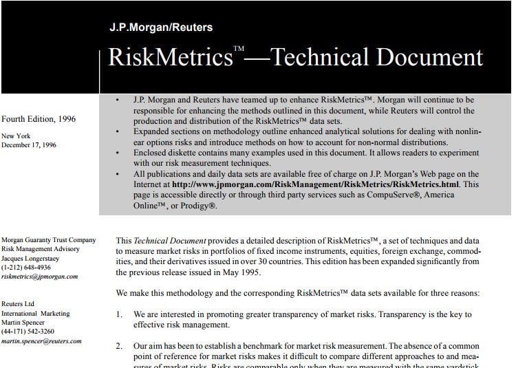 J.P. Morgan Risk Metrics