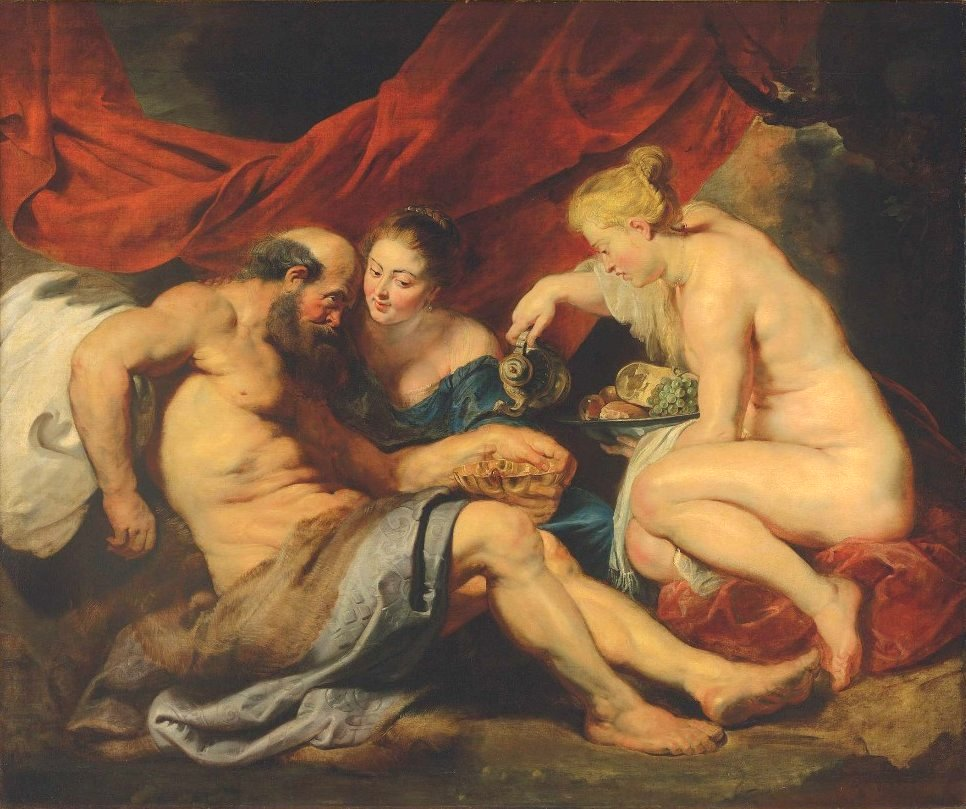 Old Master painting Lot and his Daughters by Peter Paul Rubens