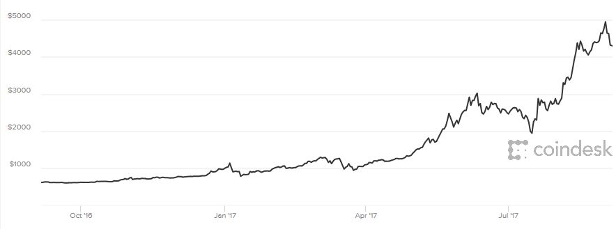 Bitcoin in USD 1 Year