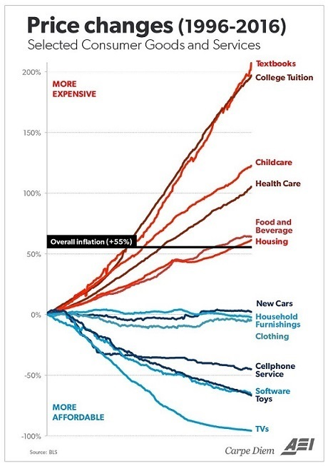 Price Changes in Consumer Goods and Services, 1996 - 2016