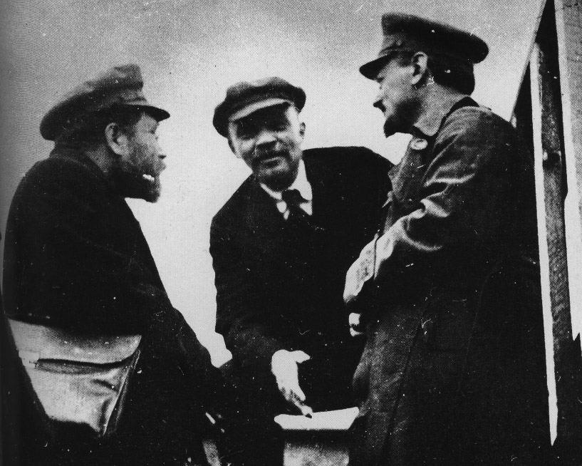 Lev Kamenev, Vladimir Lenin and Leon Trotsky