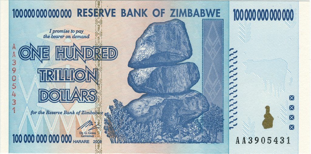 One Hundred Trillion Dollars Zimbabwe