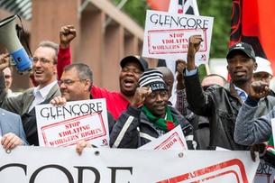 International trade unionists stage Glencore demo