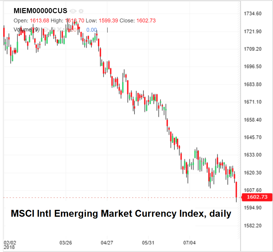 MSCI emerging market currency index, daily